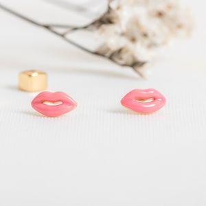 Kate Spade Lip Enamel Earrings (Pink)